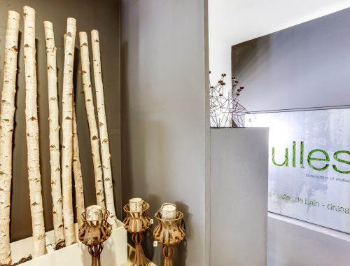 Enseigne logo végétal du showroom fraîchement relooké de Bulles Cuisines à Lyon. Mélange des matériaux : bois, métal et verdure pour un rendu eco design.