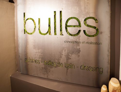 Enseigne logo végétal du showroom fraîchement relooké de Bulles Cuisines à Lyon. Métal et verdure pour un rendu eco design.